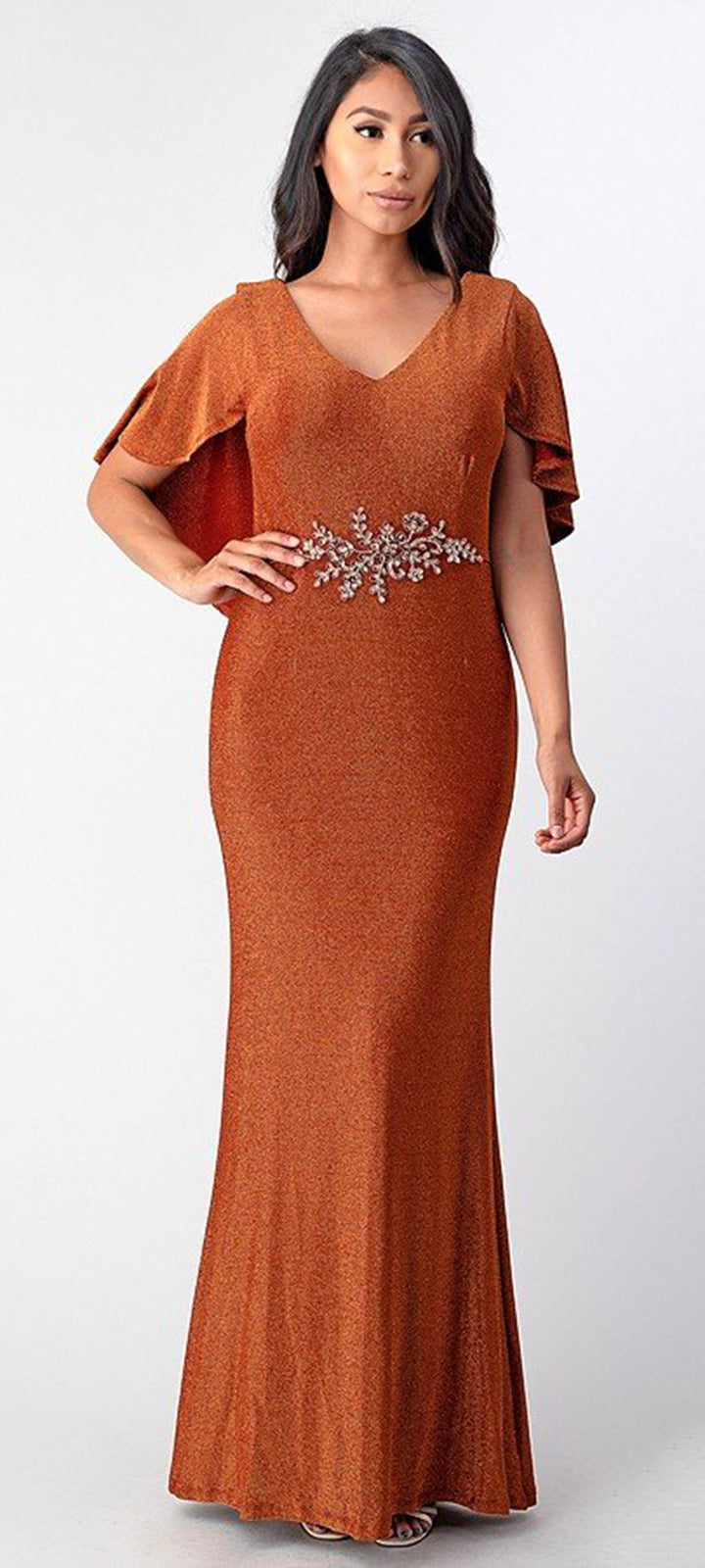 Cape Sleeves Evening Gown - LAMG8108