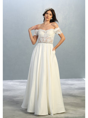 Off shoulder Bridal gown with side pockets- MQ1639B