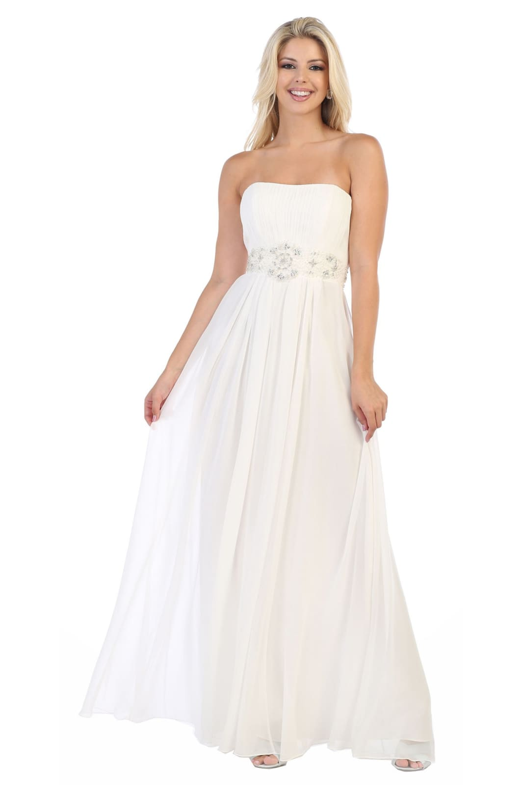 A Beautiful Strapless Chiffon Plus Size Dress - MQ635B -