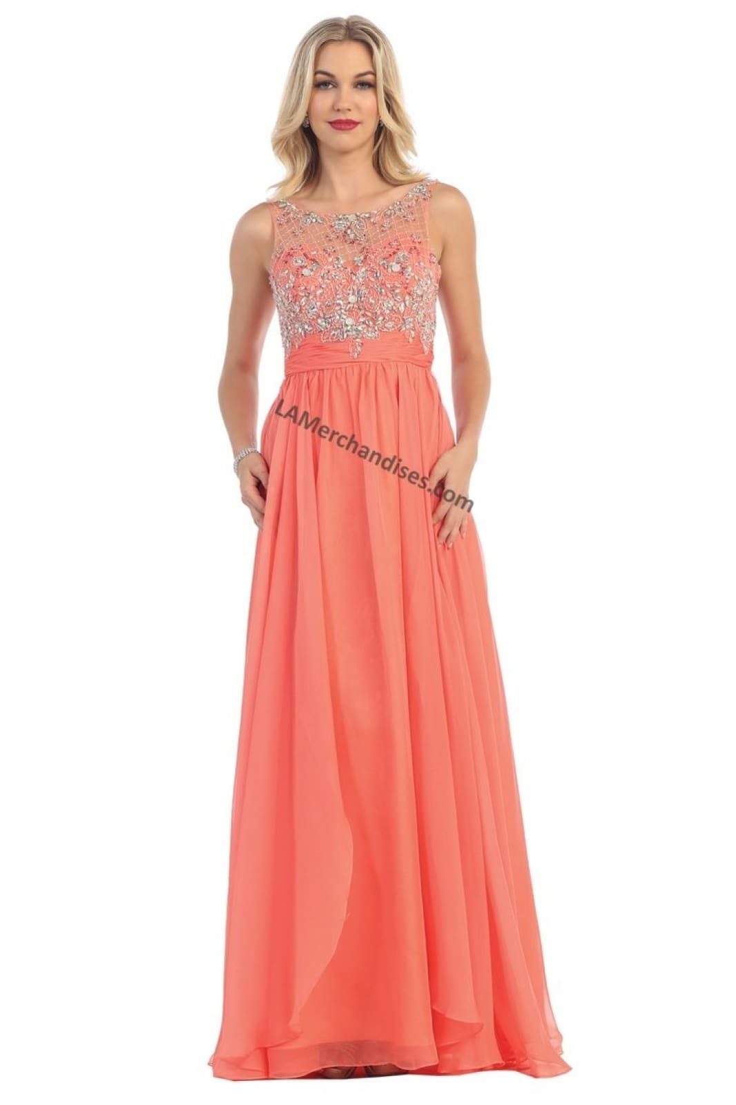 A chiffon A-line dress with sequins & Illusion neckline-