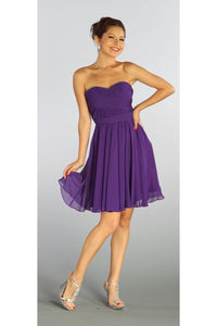 A cute sweetheart strapless short bridesmaid dress-PY6744