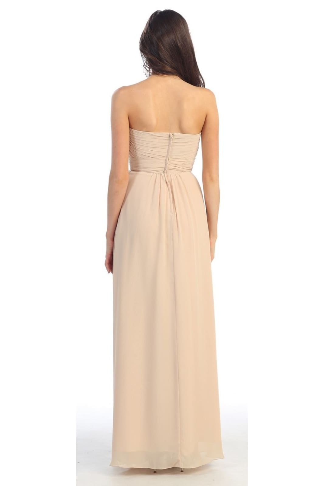 A dazzling strapless plus size bridesmaid dress- MQ895