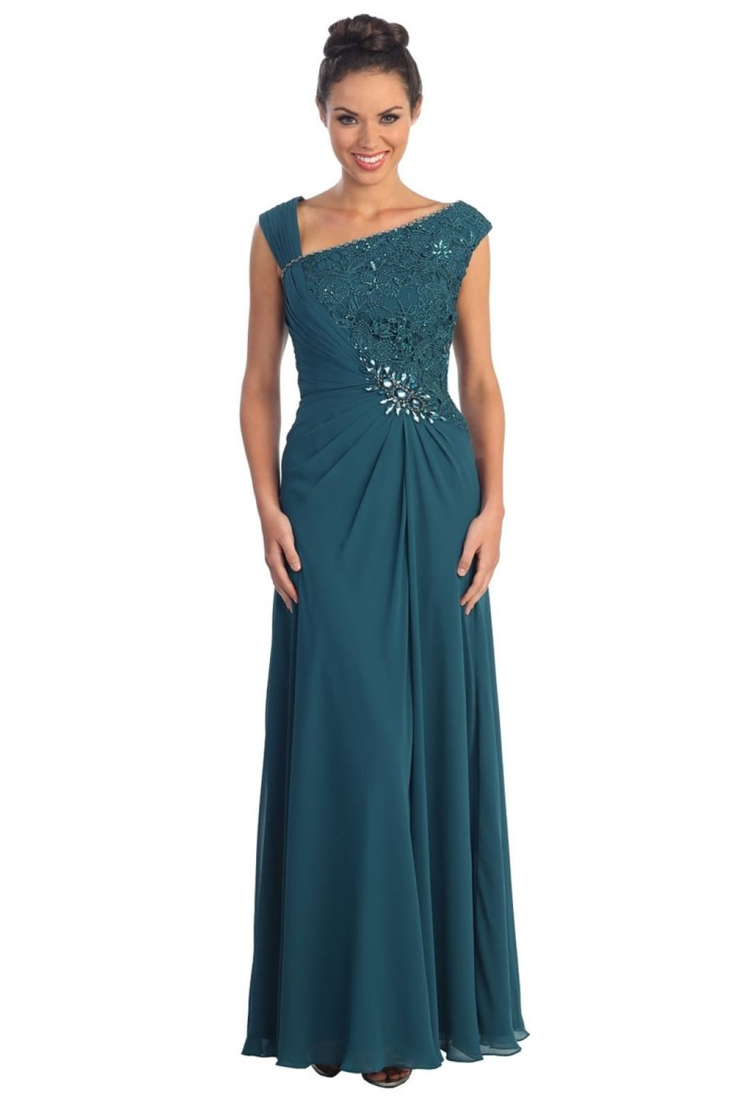 A fantastic thick straps sequins chiffon gown-GL1003
