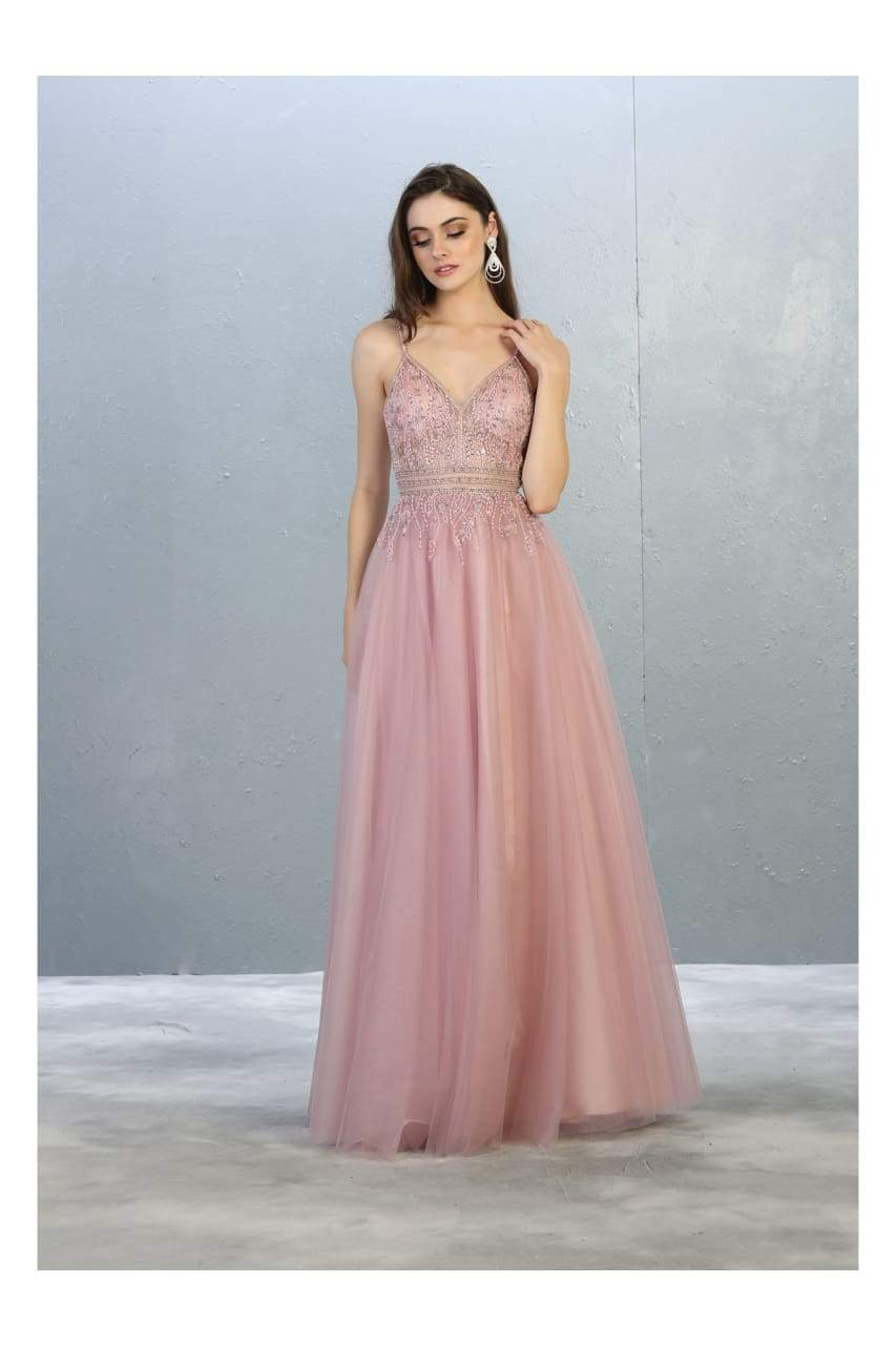 A-line Formal Evening Gown And Plus Size - MAUVE / 4