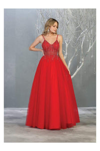 A-line Formal Evening Gown And Plus Size - RED / 4