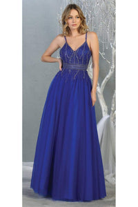 A-line Formal Evening Gown And Plus Size - ROYAL BLUE / 4