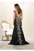 Load image into Gallery viewer, Cap sleeve lace applique & rhinestone taffeta dress - RQ7602