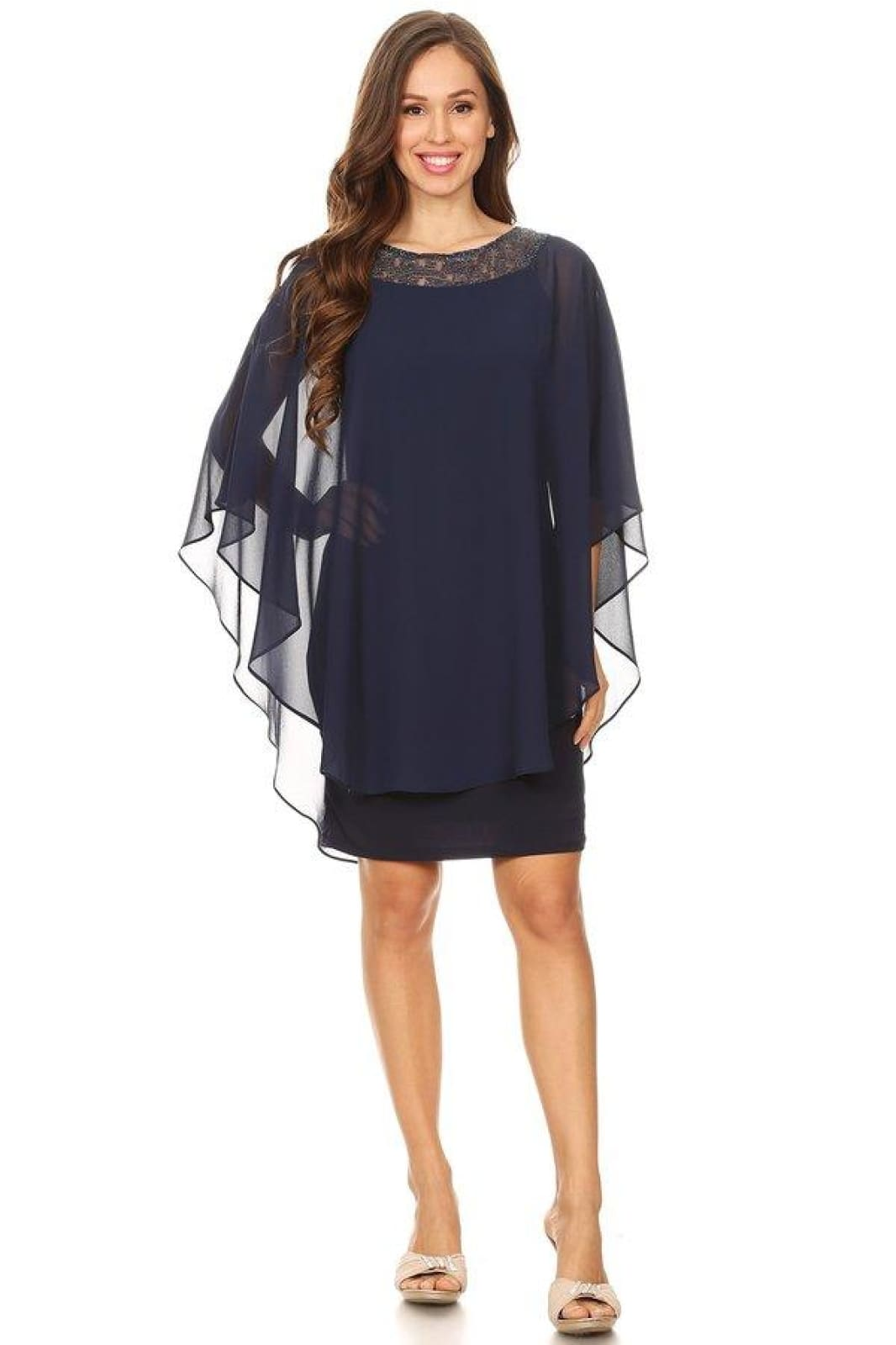 Cocktail Dress with Draped Overlay - LA2014GA - NAVY / S