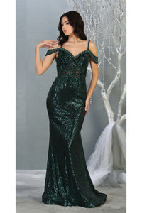 Fancy Off shoulder Formal Gown- LA7877 - Hunter Green / 4