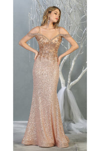 Fancy Off shoulder Formal Gown- LA7877 - Rose Gold / 4