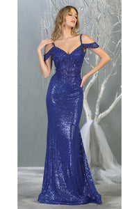 Fancy Off shoulder Formal Gown- LA7877 - Royal / 4
