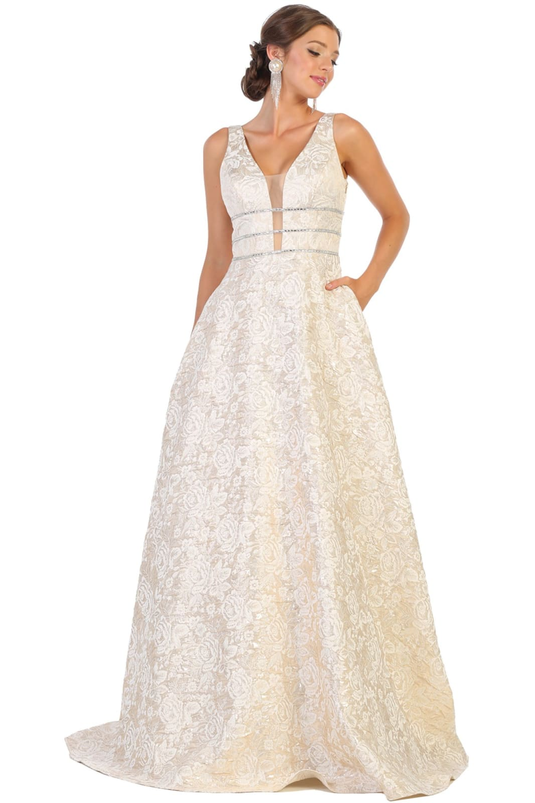 Formal Floral Evening Gown - LA7787 - GOLD / 4
