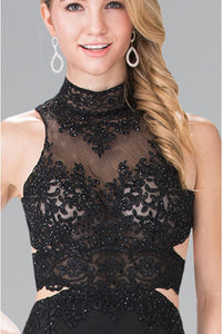 High neck lace applique & rhinestone jersey dress- GL2225