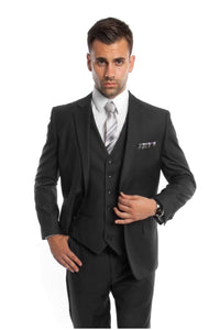 Modern Fit Suit LA302SA - Black / 42S/38W - Mens Suits