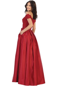 Off Shoulder Evening Gown with Pockets - LA1762