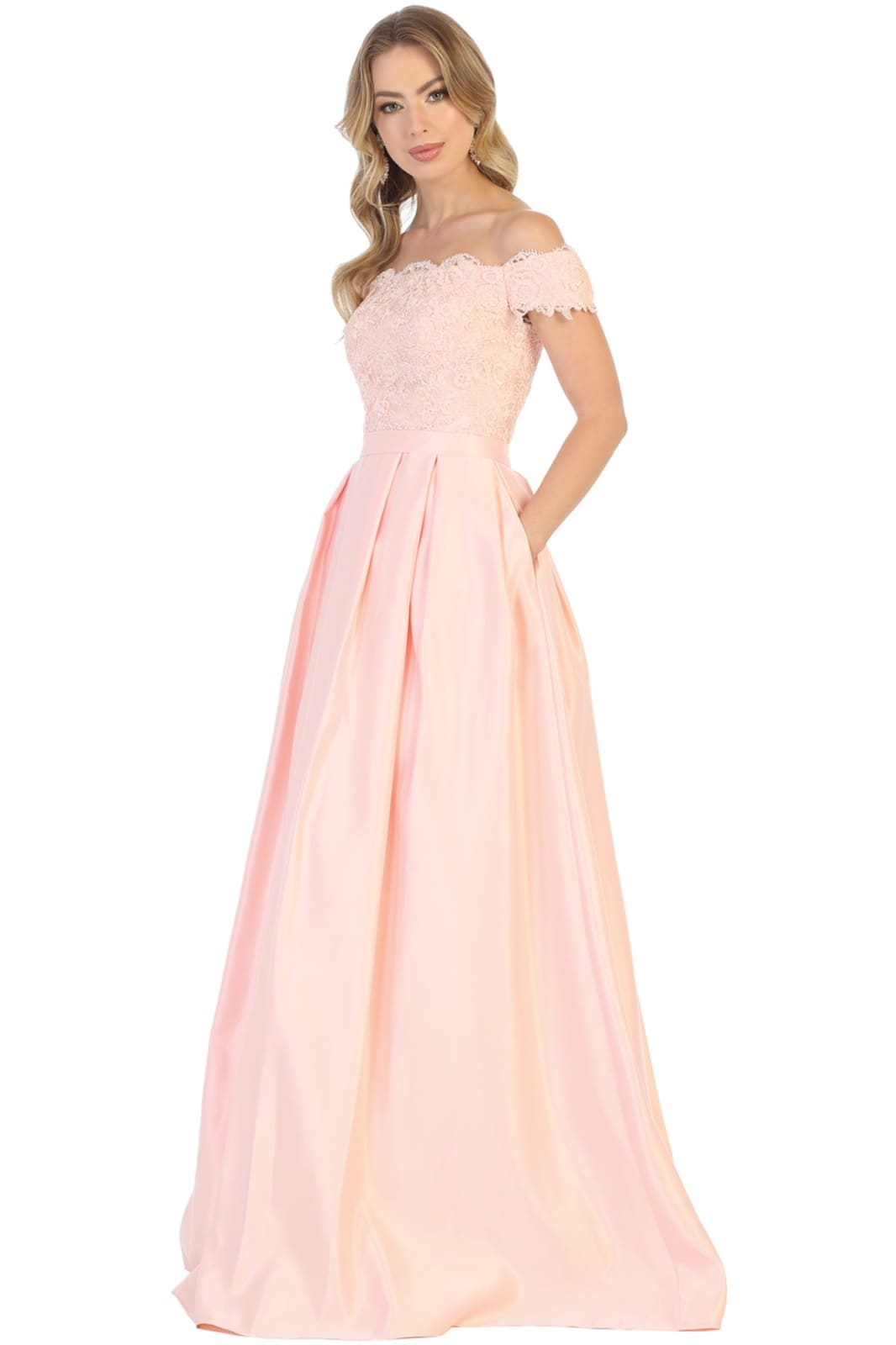 Off Shoulder Evening Gown with Pockets - LA1762 - BLUSH / 4