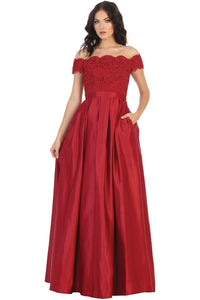 Off Shoulder Evening Gown with Pockets - LA1762 - BURGUNDY /