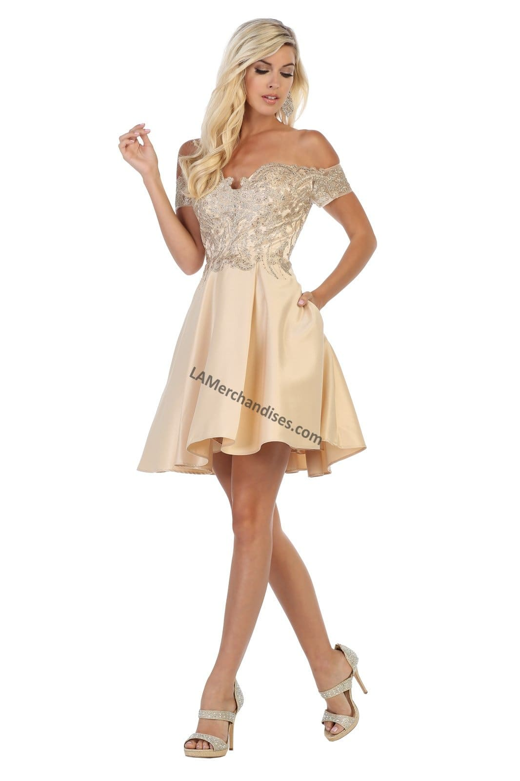Off shoulder lace applique & rhinestone short satin dress-