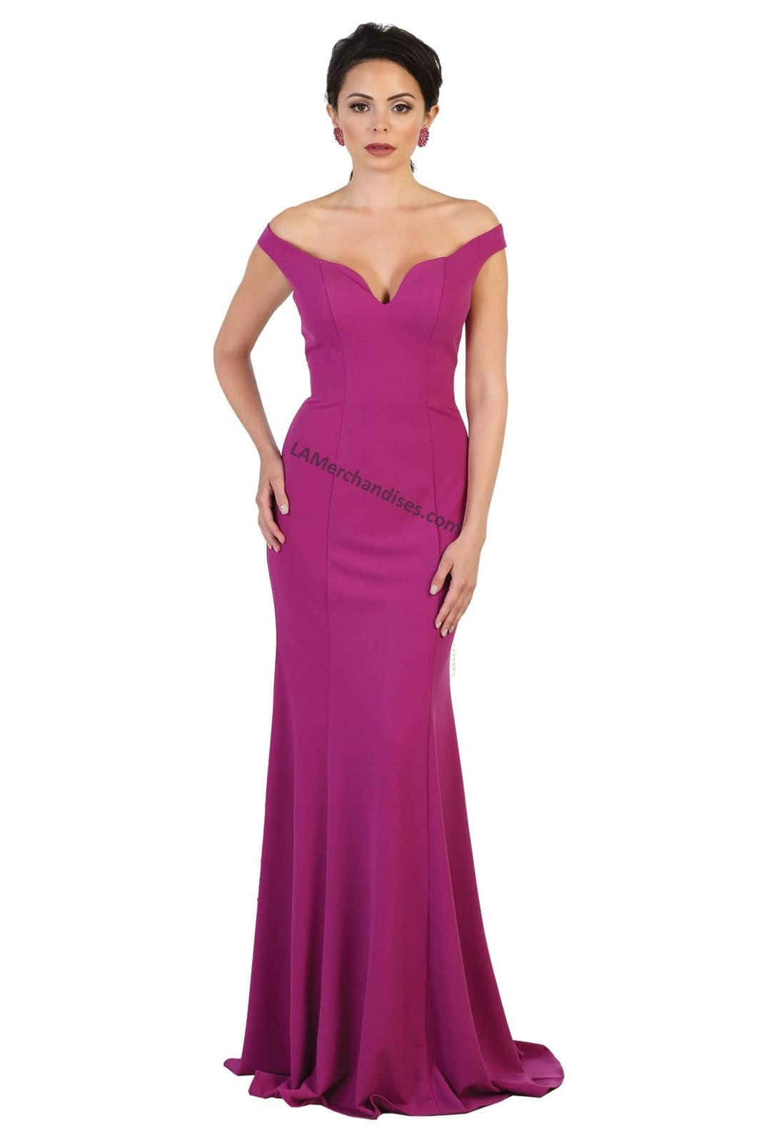 Off shoulders long Ity dress- MQ1489