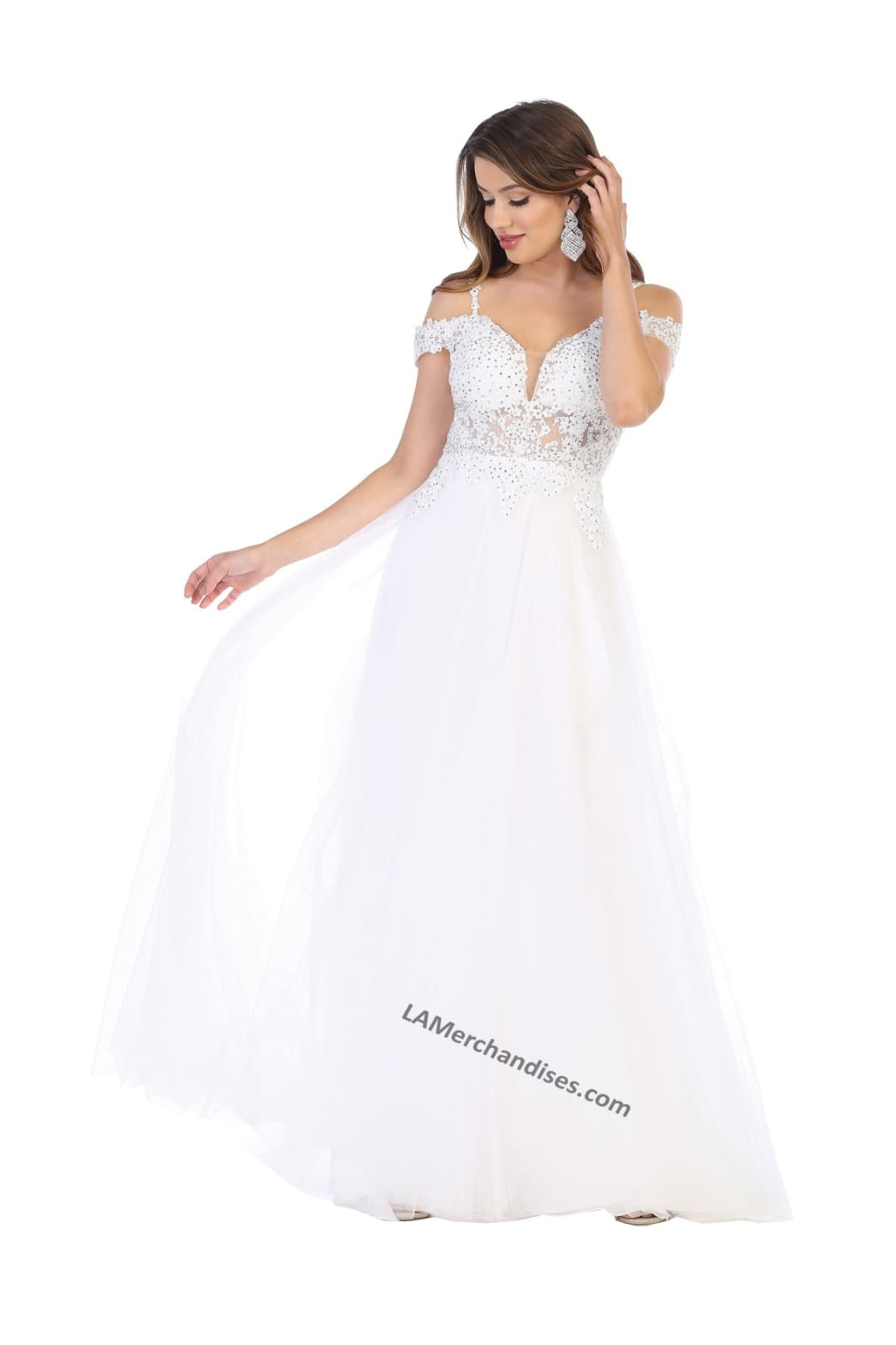 Off-the-Shoulder Bridal Dress- LA1694B