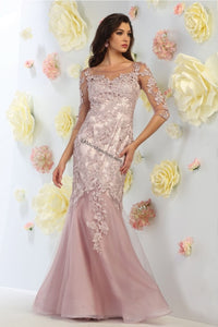Quarter sleeve embroider & mesh mermaid dress- RQ7485