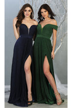Load image into Gallery viewer, Ruched Off Shoulder Formal Gown - LA7876