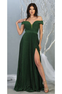 Ruched Off Shoulder Formal Gown - LA7876 - Hunter Green / 4