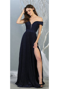 Ruched Off Shoulder Formal Gown - LA7876 - Navy / 4