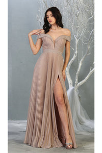 Ruched Off Shoulder Formal Gown - LA7876 - Rose Gold / 4