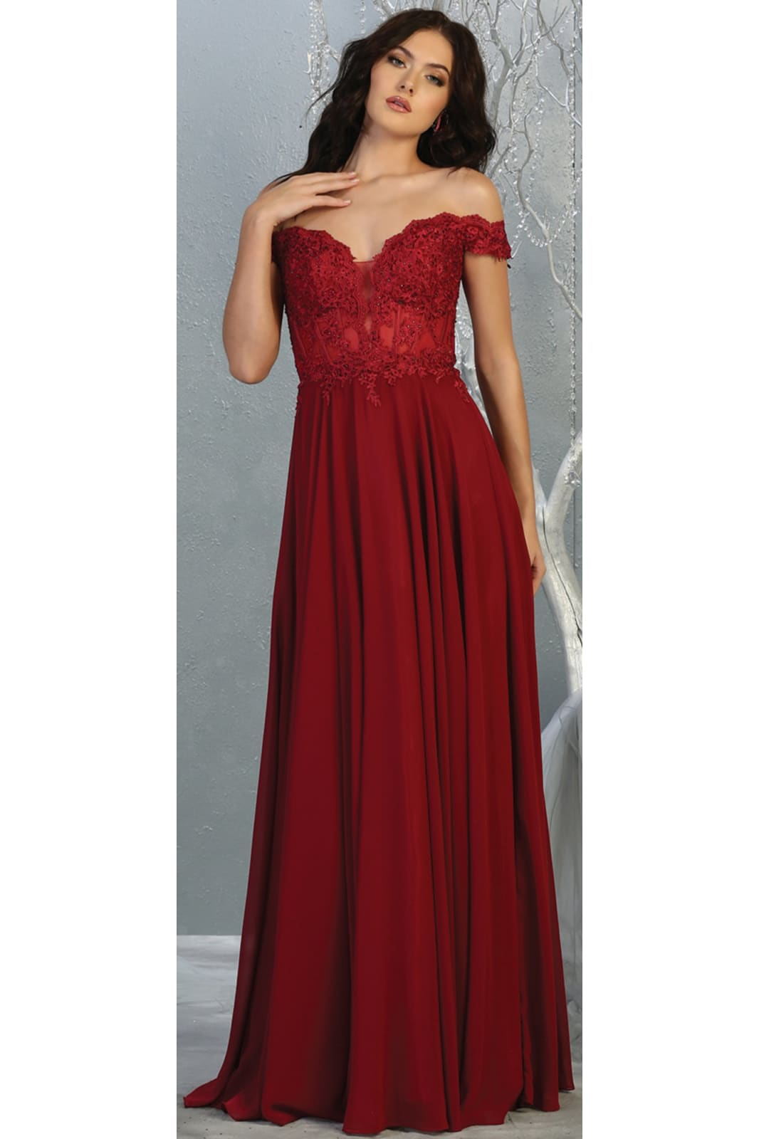 Sexy Off Shoulder Long Dress - LA1714 - BURGUNDY / 4