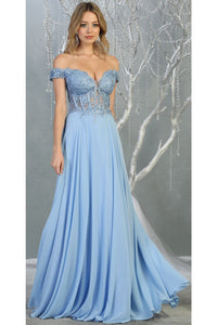 Sexy Off Shoulder Long Dress - LA1714 - PERRY BLUE / 4
