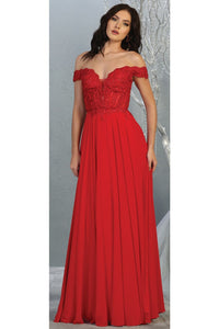 Sexy Off Shoulder Long Dress - LA1714 - RED / 4