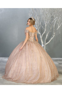 Shimmering Off Shoulder Quinceanera Ball Gown- LA151