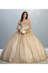 Shimmering Off Shoulder Quinceanera Ball Gown- LA151 -