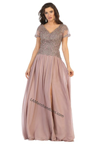 Short sleeve embroiderer & sequins chiffon dress with front