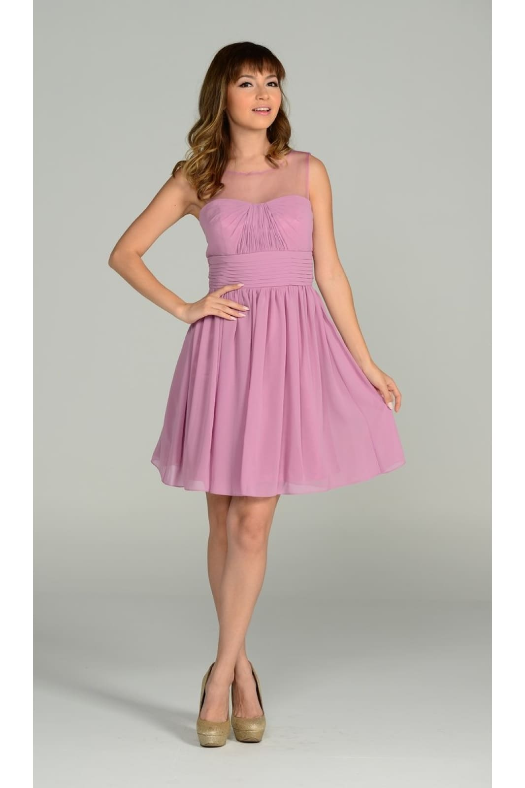Short sleeveless pleated chiffon bridesmaid dress- PY7006