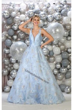 Load image into Gallery viewer, Shoulder straps satin & mesh ballgown with side pockets-