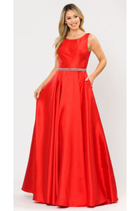 Simple & Classy A-Line Gown - PY8678 - RED / XS