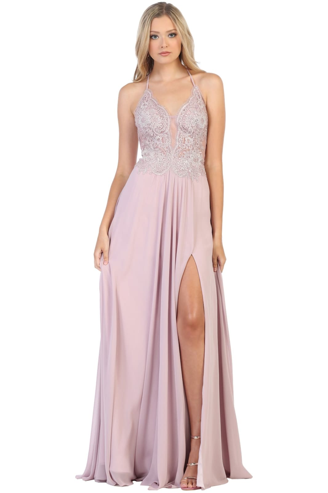 Simple Long Strappy Dress - LA7781 - MAUVE / 2