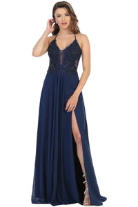 Simple Long Strappy Dress - LA7781 - NAVY / 2