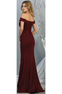 Simple Off Shoulder Evening Gown - LA1739