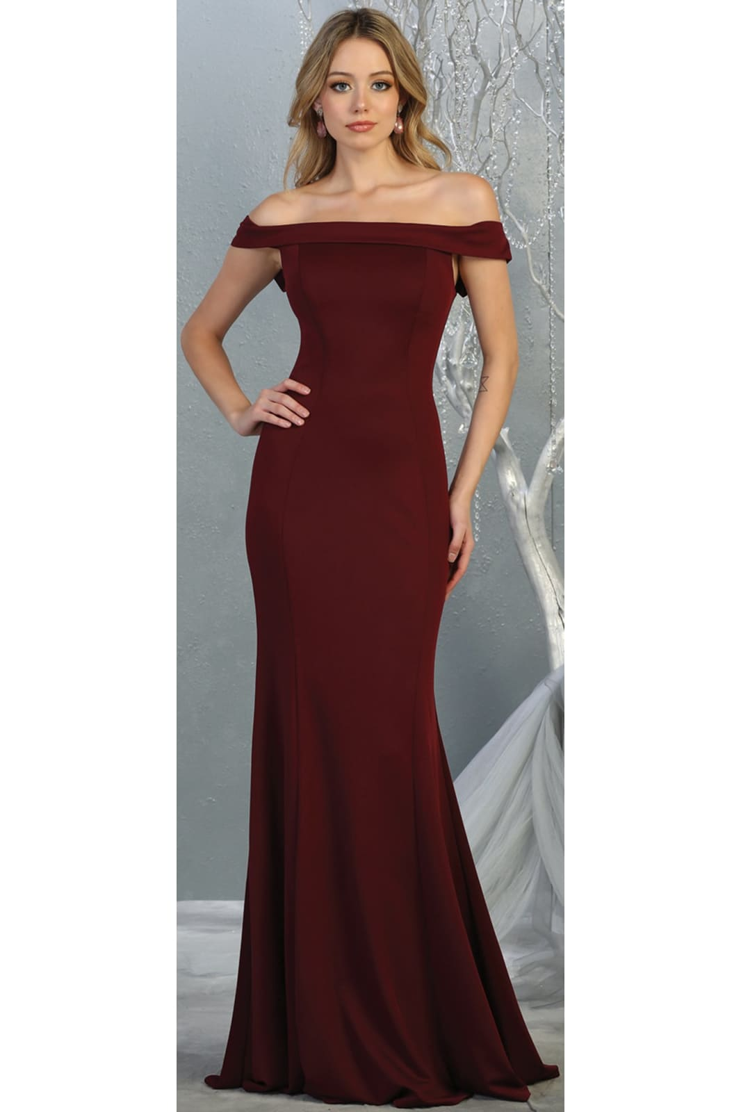 Simple Off Shoulder Evening Gown - LA1739 - BURGUNDY / 4