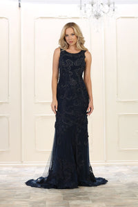 Sleeveless embroidere & rhinestones long mesh dress- RQ7555