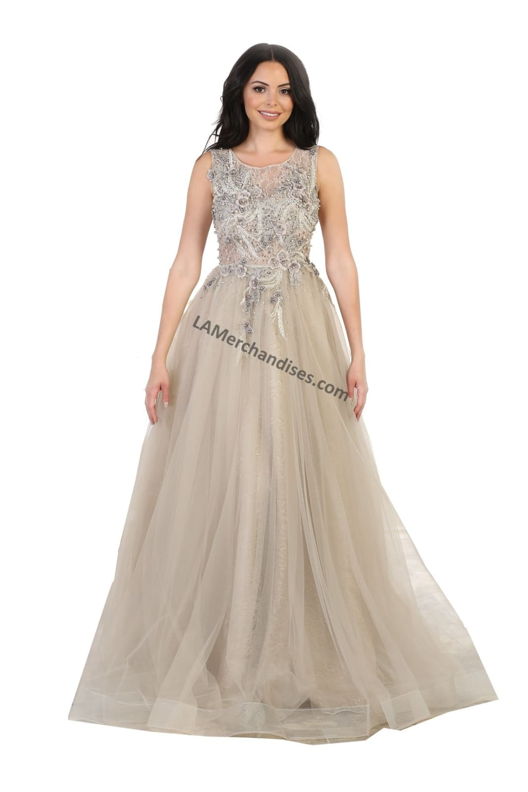 Sleeveless embroidered & pearls mesh ballgown - RQ7527 -