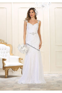Sleeveless embroidered & rhinestone long mesh wedding gown -