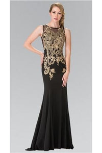 Sleeveless Lace Applique Full Length Jersey Dress - GL2230
