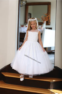 Sleeveless lace applique & pearls mesh first communion