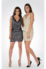 Load image into Gallery viewer, Sleeveless sequins short mesh dress- PY7816