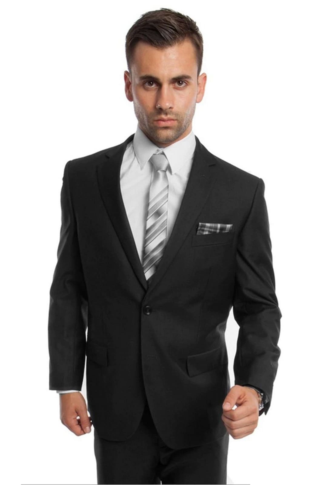Solid Two Piece Men's Suit - LA202SA - BLACK / 34S/W28 -