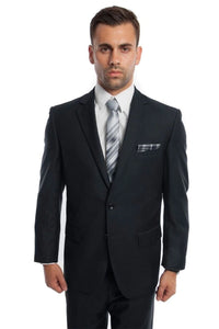 Solid Two Piece Men's Suit - LA202SA - DARK NAVY / 34S/W28 -